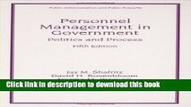 Books Personnel Management in Government: Fifth Edition, Politics and Process (Public
