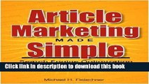 Books Article Marketing Made Simple (Search Engine Optimization Strategies For People On The Go