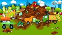 Développement d'enfants. Jeu d'assemblage - Pelleteuse, Voiture de course, Tracteur. Vidéo éducative