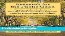 Books Research for the Public Good: Applying Methods of Translational Research to Improve Human