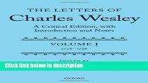 Ebook The Letters of Charles Wesley: A Critical Edition, with Introduction and Notes: Volume 1