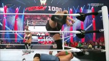 WWE The Rock saves John Cena and gets attacked by CM Punk at 1000th Episode of RAW  HD