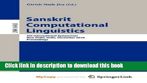 Books Sanskrit Computational Linguistics Free Download