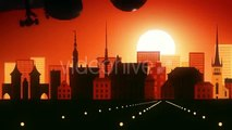 Tallin Estonia Airplane Skyline Sunrise Landing  - Motion graphics element from Videohive