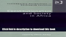 [PDF] Constitutionalism and Society in Africa (Contemporary Perspectives on Developing Societies)