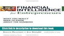 Ebook Financial Intelligence for Entrepreneurs: What You Really Need to Know About the Numbers