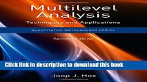 Books Multilevel Analysis: Techniques and Applications, Second Edition Free Online