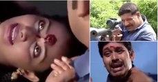 Apenas uma cena de uma novela indiana onde uma mulher leva um tiro na cabeça