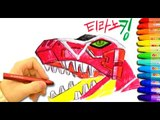 PowerRangers Dino Charge Crayon drawing slow❤TOYFAMILY PLAY TOYS