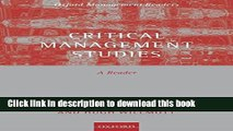 [Read PDF] Critical Management Studies: A Reader (Oxford Management Readers) Download Free