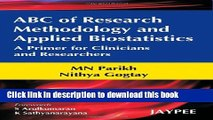 Ebook ABC of Research Methodology and Applied Biostatistics Full Online