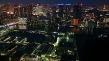 Tokyo city lights from 46th floor in Shiodome towards Tsukiji Fish market and north Tokyo