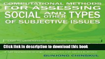 [Popular Books] Computational Methods for Assessing Social and Other Types of Subjective Issues