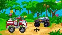 Grúa, Camión de Bomberos, Camión y Carros de Carreras - Carritos Para Niños - Videos para niños