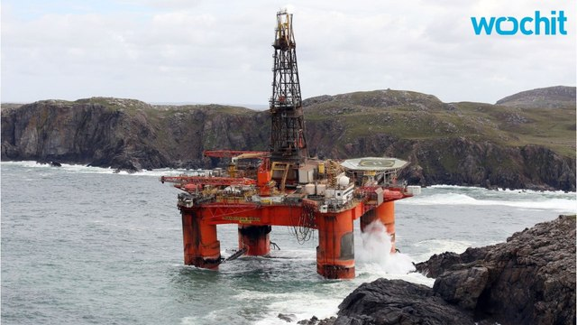 19,000-Ton Oil Rig Washes Up On Scottish Beach