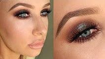 FULL GLAM - Blue,Brown Sparkly Smokey Eye - Flawless Skin! _ Lauren Curtis