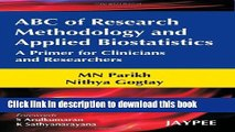 [Download] ABC of Research Methodology and Applied Biostatistics Paperback Free