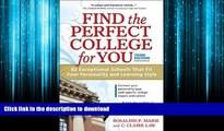 FAVORIT BOOK Find the Perfect College for You: 82 Exceptional Schools That Fit Your Personality