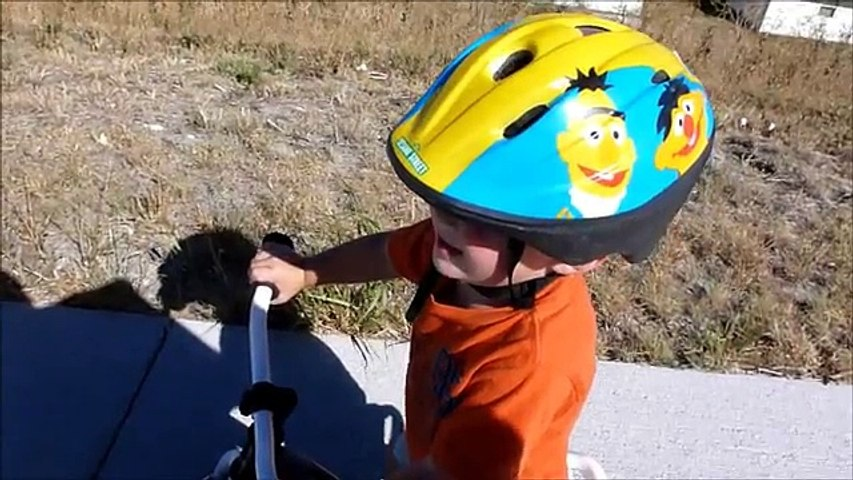 28 month old rides balance bike with no training wheels!