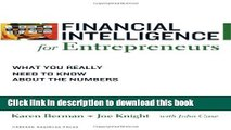 [Popular] Financial Intelligence for Entrepreneurs: What You Really Need to Know About the Numbers