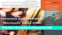[Download] Formulas and Functions with Microsoft Excel 2003 Kindle Free