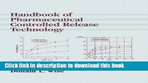 [Popular] Handbook of Pharmaceutical Controlled Release Technology Paperback Free