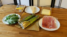 Polenta with Parma ham, cheese and asparagus