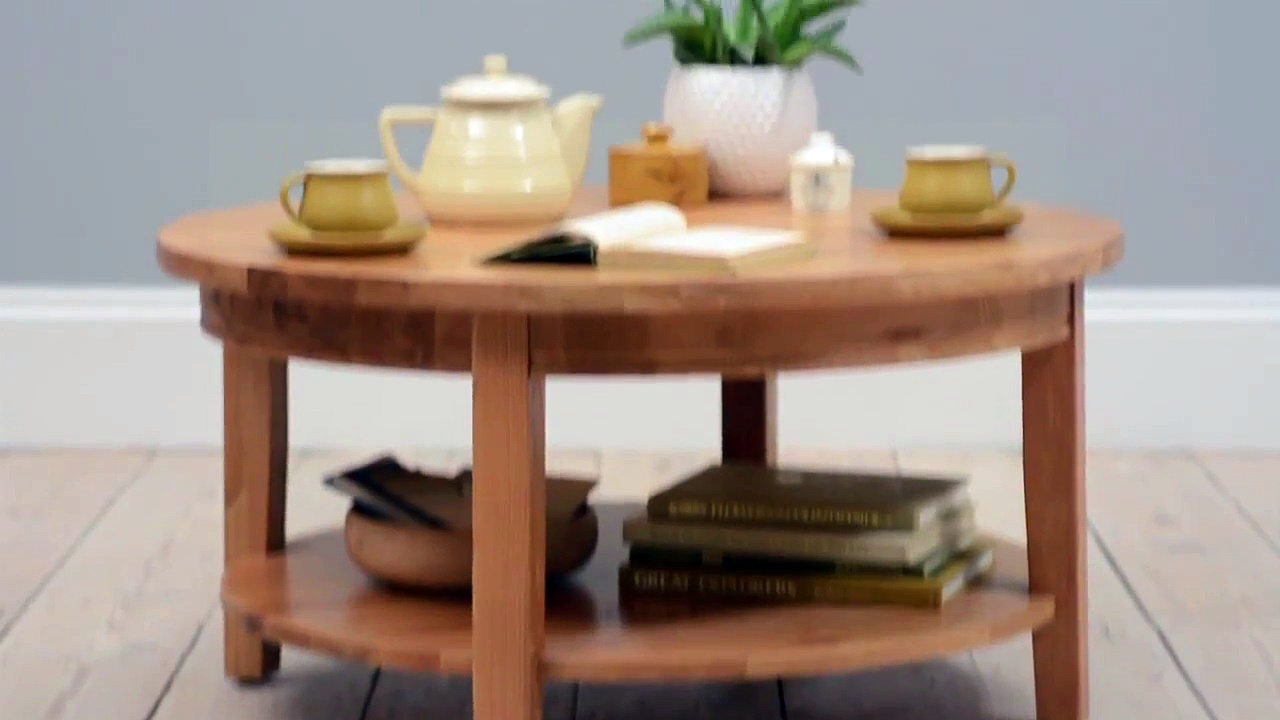 Montague Oak Large Round Coffee Table – The Cotswold Company | clear trunk coffee table