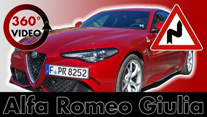 360° Drive Alfa Romeo Giulia QV on Mountain Road in Italy Test VR Driving 360 degrees