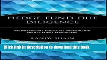 [Popular] Hedge Fund Due Diligence: Professional Tools to Investigate Hedge Fund Managers Kindle