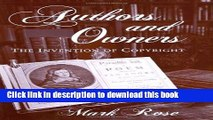 [Popular] Authors and Owners: The Invention of Copyright Hardcover Collection