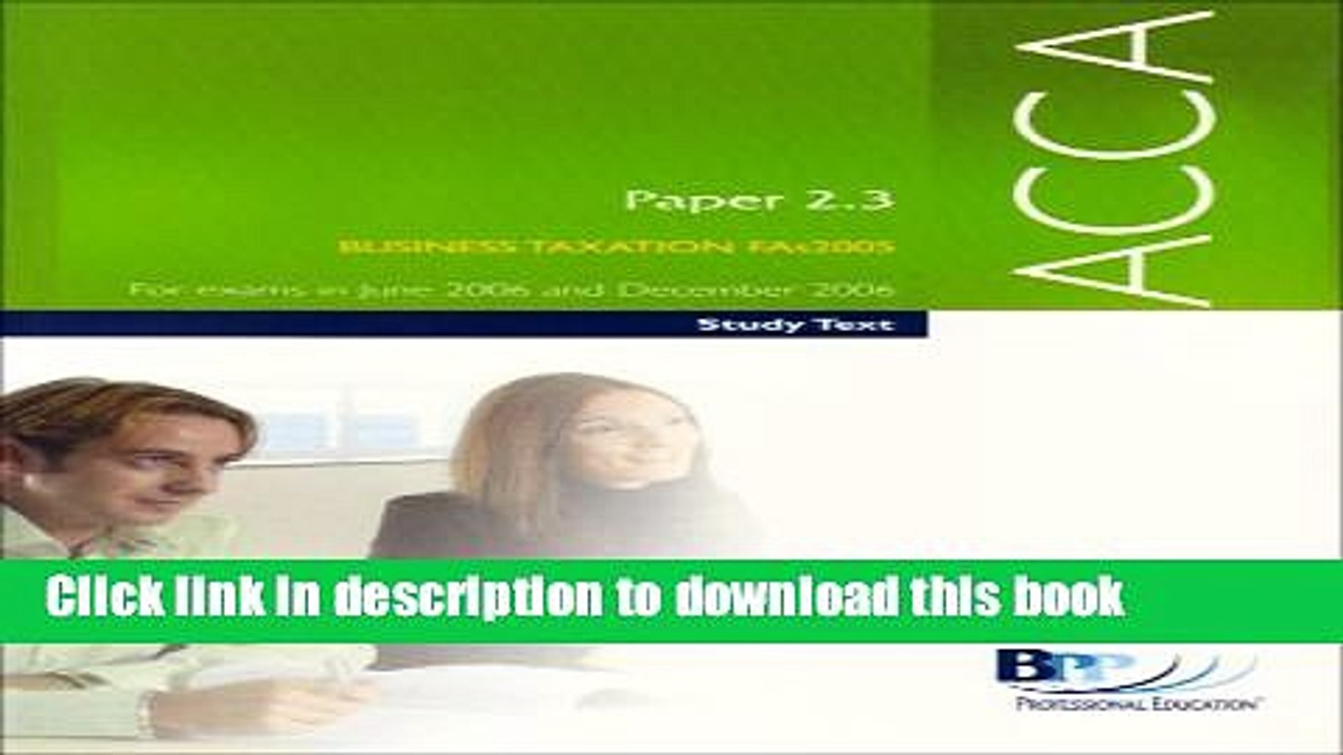 [Popular] ACCA Paper 2.3 Business Taxation FA 2005 2005: Study Text Hardcover Online