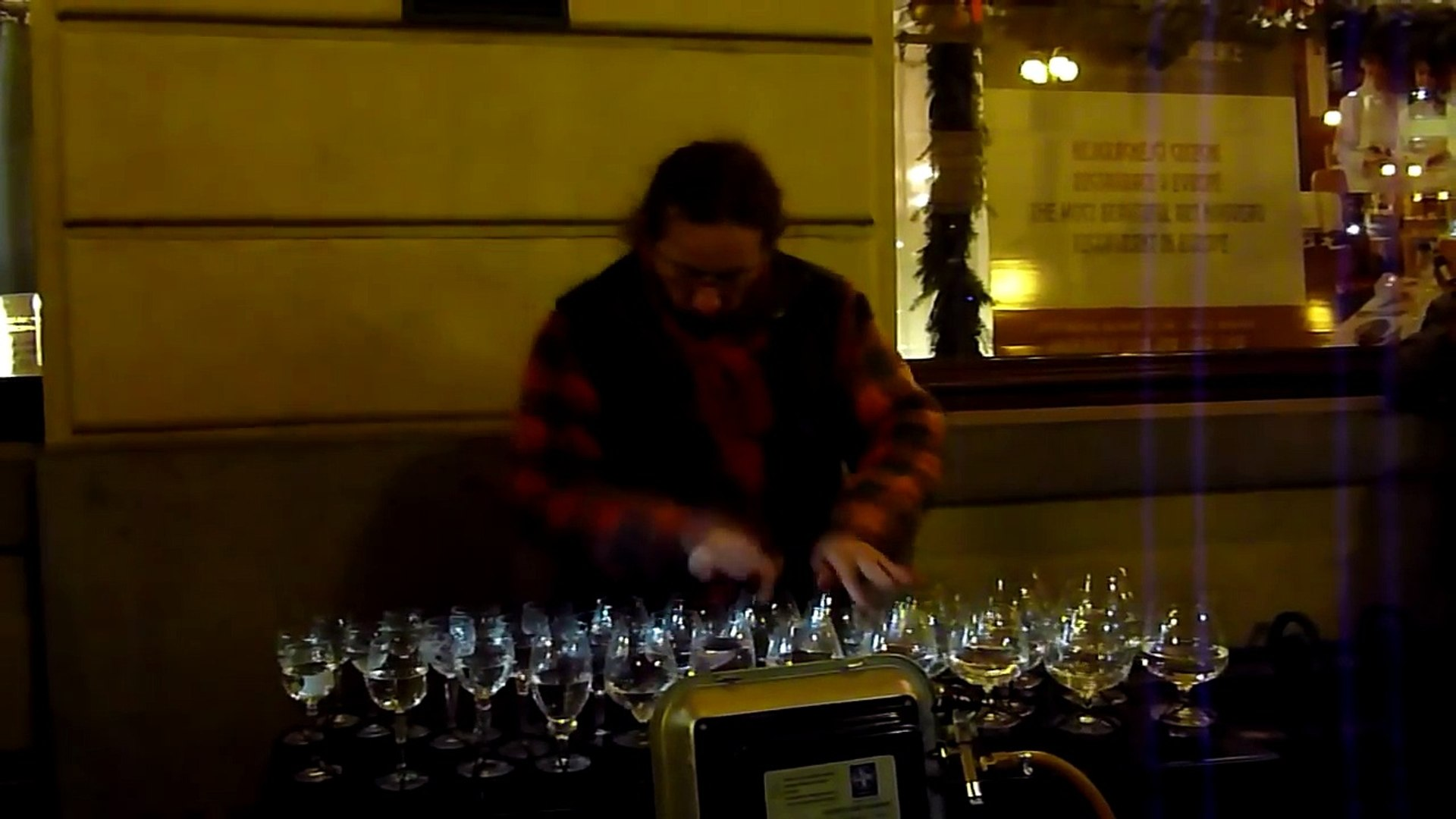 AMAZING Street Musician Playing Water Glasses! Music Video HD