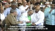 Cuba's Fidel Castro makes public appearance for 90th birthday