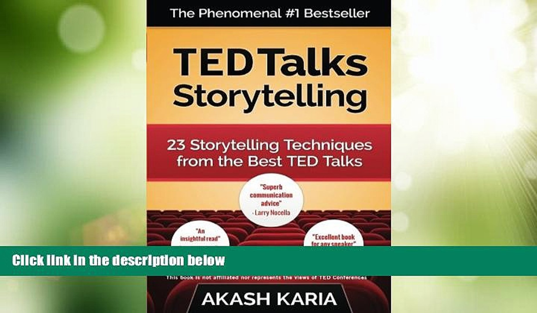 Big Deals  TED Talks Storytelling: 23 Storytelling Techniques from the Best TED Talks  Best Seller