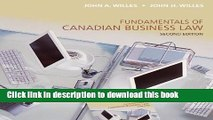 [Download] Fundamentals of Canadian Business Law, Second Edition Kindle Free