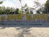 Démolition du mur de l'ANDRA à Mandres-en-Barrois près de Bure