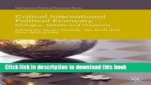 [Popular] Critical International Political Economy: Dialogue, Debate and Dissensus Hardcover Free