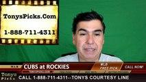 Colorado Rockies vs. Chicago Cubs Free Pick Prediction MLB Baseball Odds Series Preview