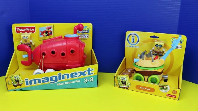 SpongeBob SquarePants TOYS with Batman Imaginext Bikini Bottom Bus and Patty Wagon DisneyCarToys