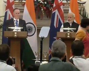 PM Modi & Prime Minister of New Zealand Mr John Key at Joint Press Statements