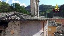 Italie: images aériennes de dégâts après le séisme