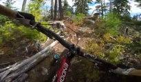 Il filme sa descente en VTT complètement dingue sur un petit chemin de forêt !