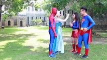 Spiderman and Frozen Elsa Superman vs Maleficent w- Venom Supergirl Batman SpiderGirl Hulk Iron Man