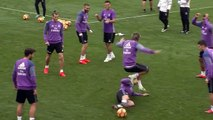 Cristiano Ronaldo was given some stick by his Real Madrid C.F. teammates for his wild tackle on Fábio Coentrão..