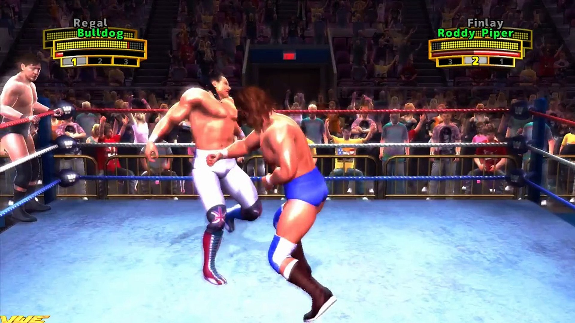 WWE Legends of Wrestlemania - British Bulldog & William Regal Vs. Rowdy Roddy Piper & Finlay
