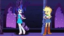 My Little Pony Equestria Girls Applejack,Rarity Transform Into Crazy Gem Rarity,Creepy Applejack