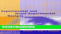 Books Experimental and Quasi-Experimental Designs for Generalized Causal Inference Free Online