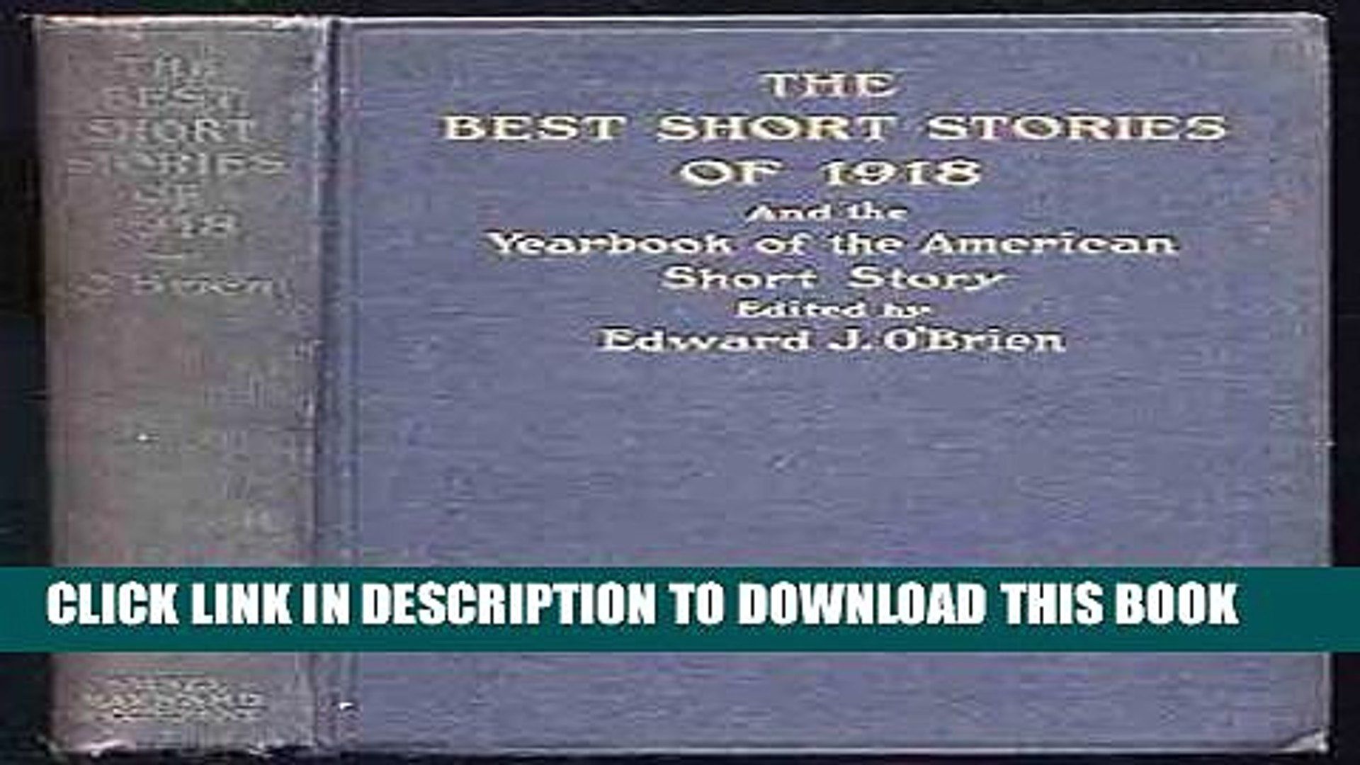 New Book The Best Short Stories of 1918 and the Yearbook of the American Short Story