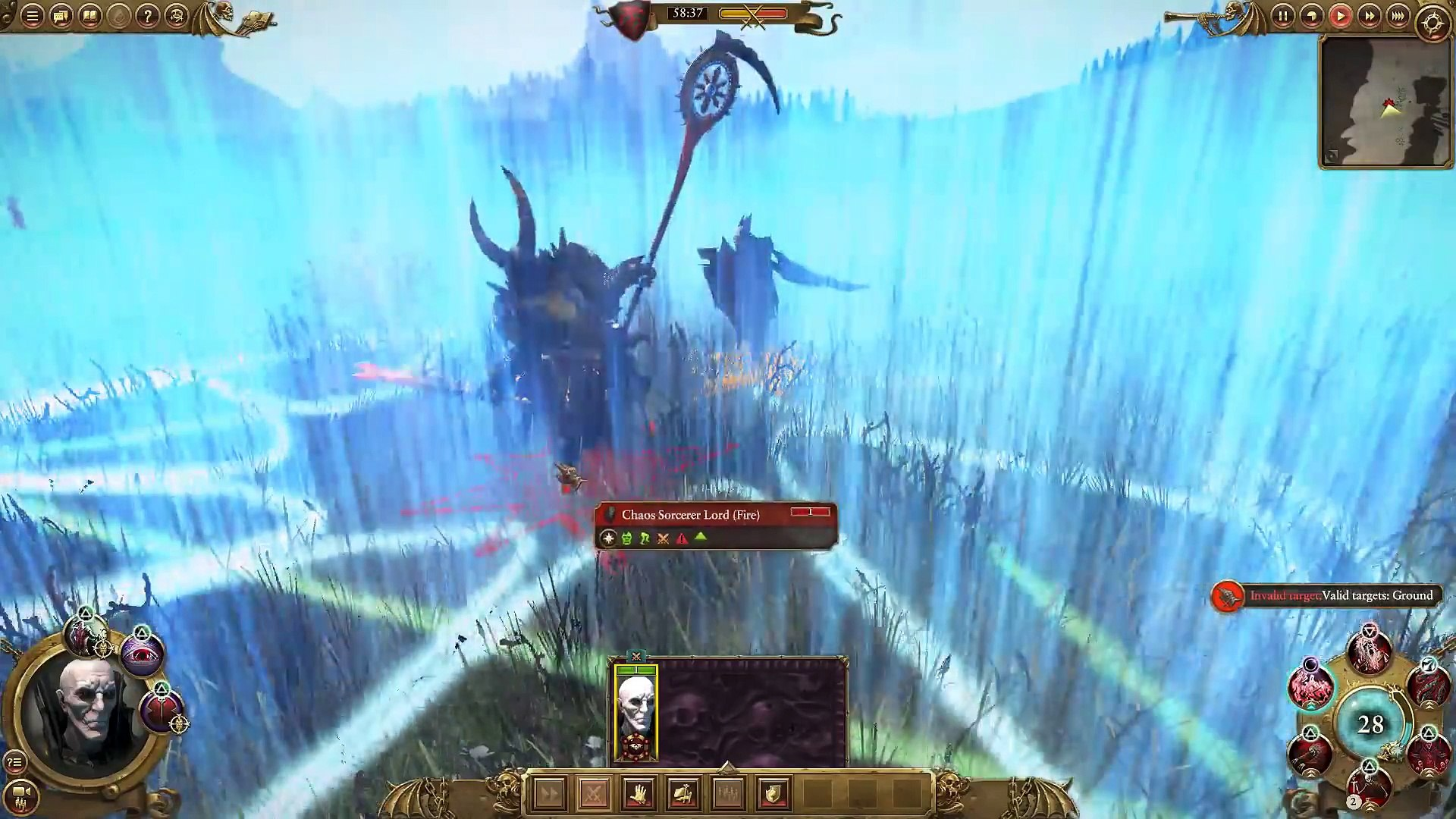 Vampire Lord VS Chaos Scorcerer Lord (Fire) Warhammer Total War